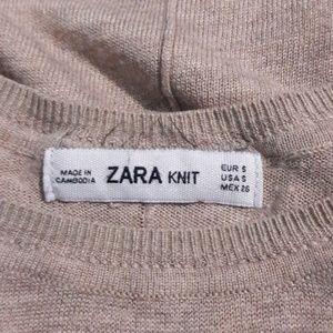 Zara Knit Tan High Low Long Sleeve Sweater